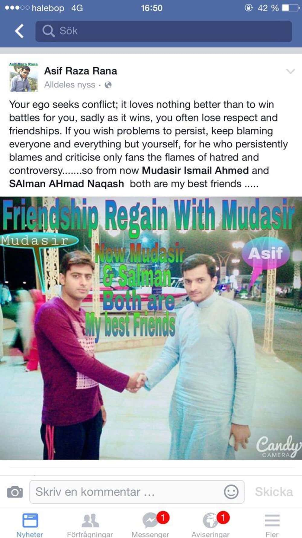 Mudasir Rejoins The Sanctum Of... is listed (or ranked) 1 on the list The Best of Indian People Facebook