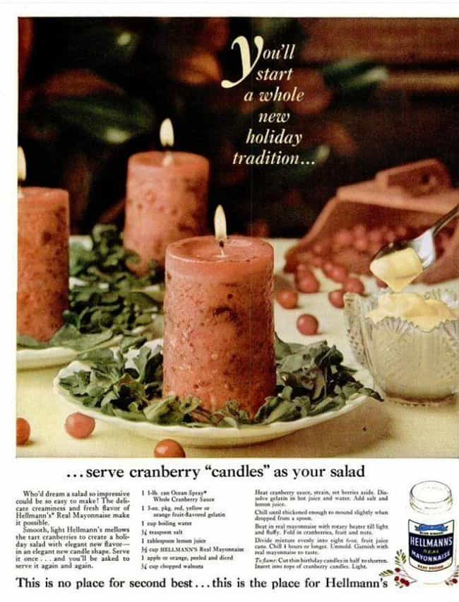 """Cranberry """"Candle"""" Sal... is listed (or ranked) 4 on the list 20 Completely Disgusting Recipes from Vintage Cookbooks"""