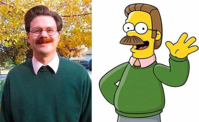 Ned Flanders is listed (or ranked) 2 on the list 20 Real People Who Look Just Like Simpsons Characters