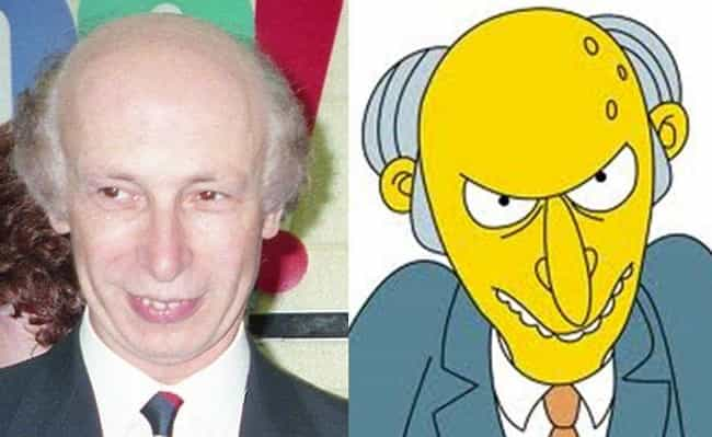 Mr. Burns is listed (or ranked) 1 on the list 21 Real People Who Look Just Like Simpsons Characters