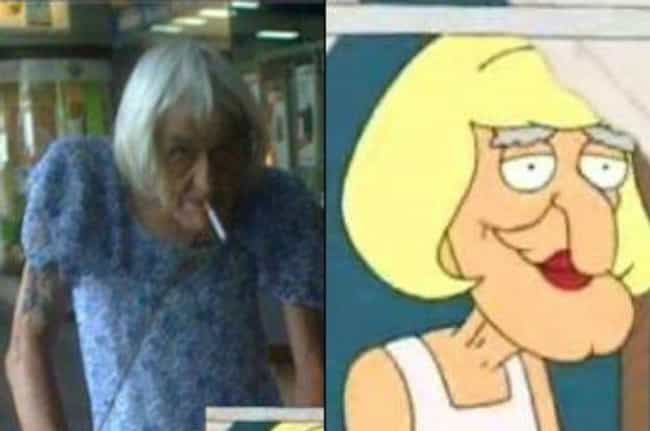 Herbert the Pervert in Drag is listed (or ranked) 3 on the list 24 Real People Who Look Exactly Like Family Guy Characters