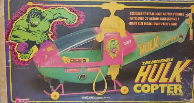 The Hulk Copter is listed (or ranked) 2 on the list 14 Incredibly Lame Superhero Vehicle Toys That No '90s Kid Wanted