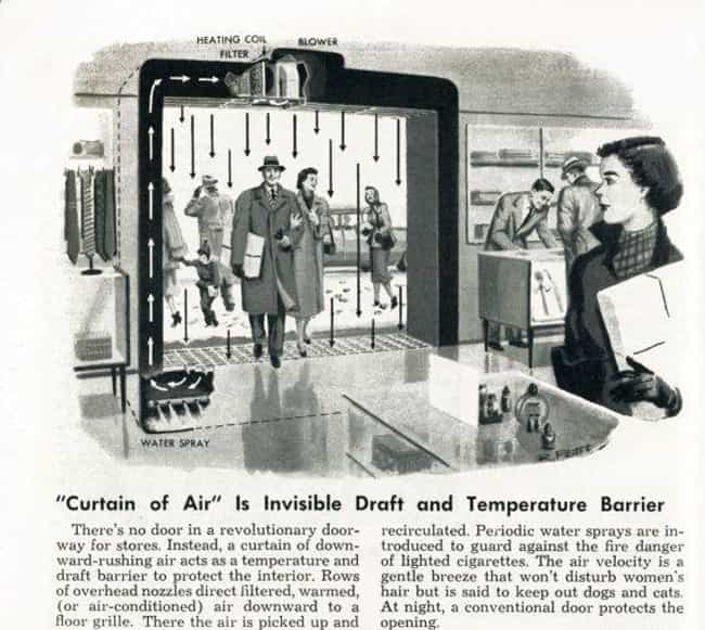1956's Air Curtain Entranc... is listed (or ranked) 7 on the list 31 Hilarious Vintage Ads That Tried to Predict the Future