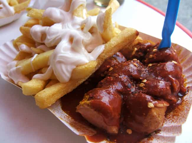 Currywurst and Fries - Germany is listed (or ranked) 1 on the list Here's What Drunk People Eat Around the World