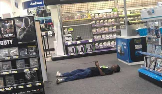 Meanwhile, at Best Buy is listed (or ranked) 4 on the list 16 People Spotted in Public Who Clearly Don't Care Anymore
