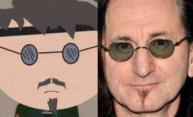 Ned and Geddy Lee is listed (or ranked) 9 on the list 21 Actual People Who Look Just Like South Park Characters