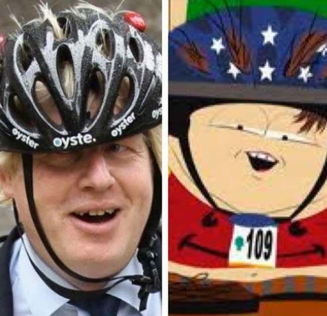 Boris Johnson and Eric Cartman is listed (or ranked) 13 on the list 21 Actual People Who Look Just Like South Park Characters