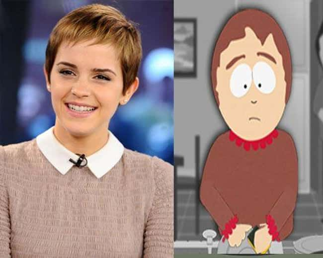 Emma Watson and Sharon Marsh is listed (or ranked) 18 on the list 21 Actual People Who Look Just Like South Park Characters