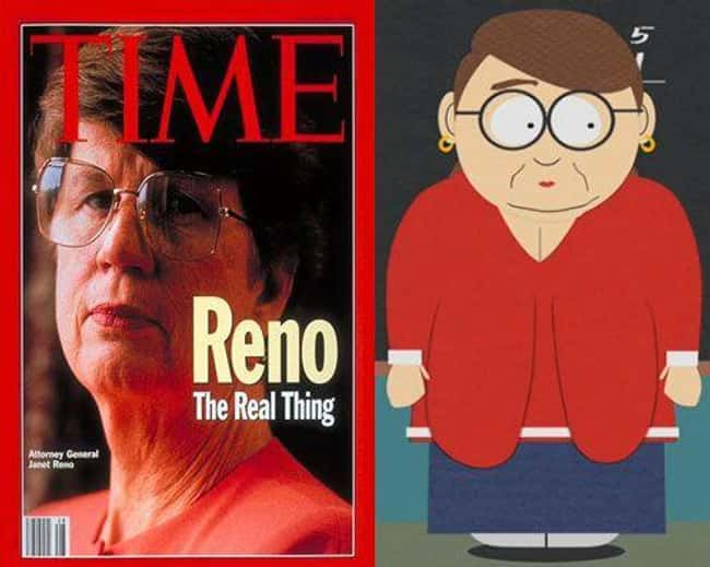 Janet Reno and Ms. Choksondik is listed (or ranked) 12 on the list 21 Actual People Who Look Just Like South Park Characters