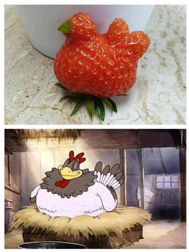 The Strawberry That Look... is listed (or ranked) 3 on the list Foods That Weirdly Look Like Beloved Fictional Characters
