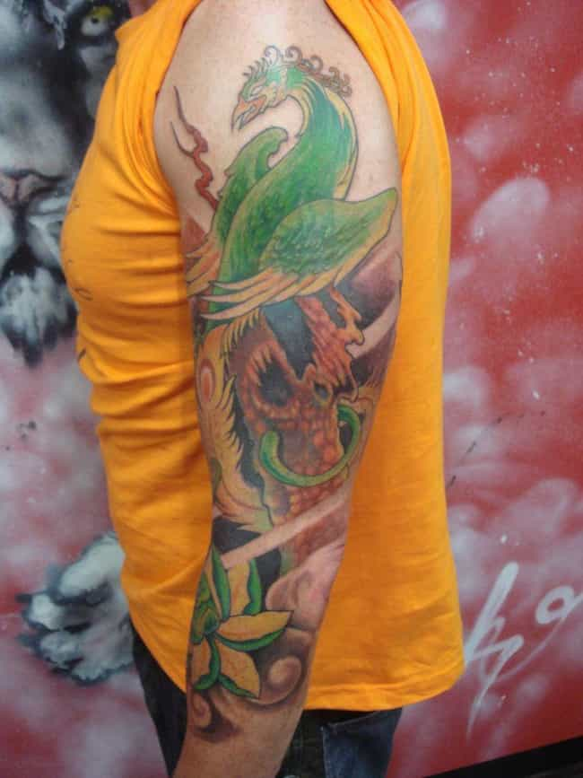 The Phoenix is listed (or ranked) 3 on the list 16 Yakuza Tattoos and Their Symbolic Meaning