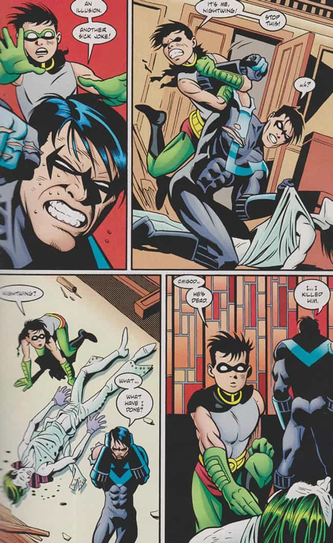 Nightwing Murders the Jo... is listed (or ranked) 4 on the list 8 Violent and Gruesome Moments in Nightwing's Comic History