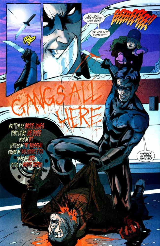 Nightwing Clears a Crimi... is listed (or ranked) 3 on the list 8 Violent and Gruesome Moments in Nightwing's Comic History