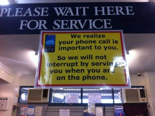 Phoning It In is listed (or ranked) 3 on the list Funny Shop Notices That Would Get Your Attention