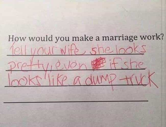 The Key to a Successful ... is listed (or ranked) 1 on the list Hilarious Test Answers From Kids