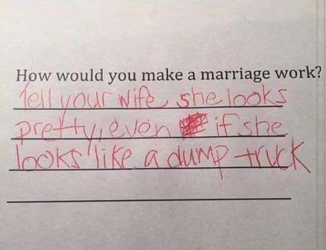 The Key to a Successful Marria is listed (or ranked) 41 on the list 53 Hilarious Test Answers From Kids