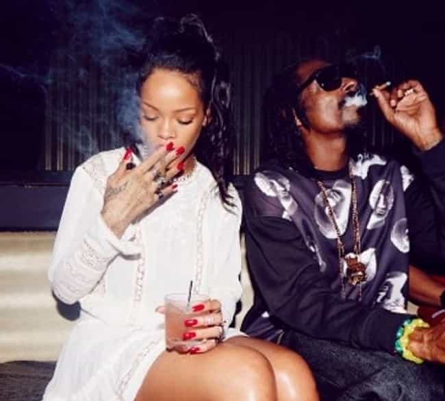 Rihanna and Snoop Dogg B... is listed (or ranked) 2 on the list 13 Lit Pictures of Celebrities Smoking Weed Together