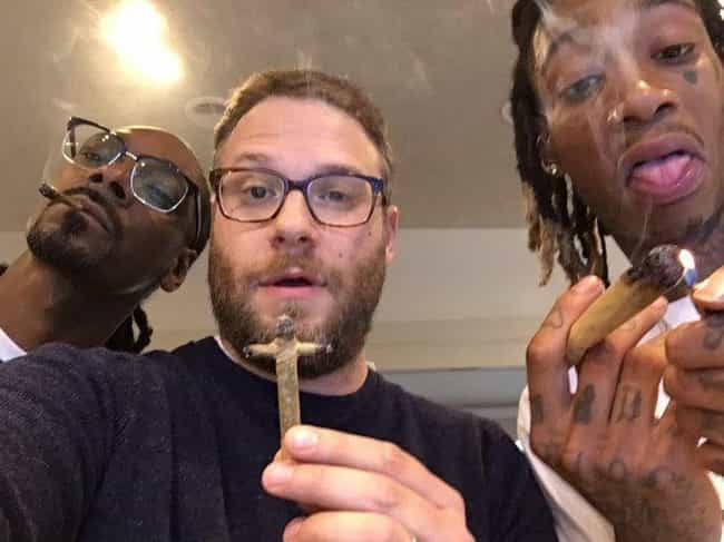 Snoop Dogg, Seth Rogen, ... is listed (or ranked) 1 on the list 13 Lit Pictures of Celebrities Smoking Weed Together