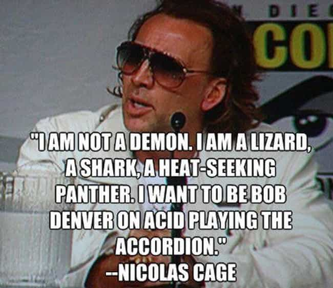 Nicolas Cage is Truly a ... is listed (or ranked) 2 on the list 22 Funny Celebrity Quotes All Bros Can Totally Relate To