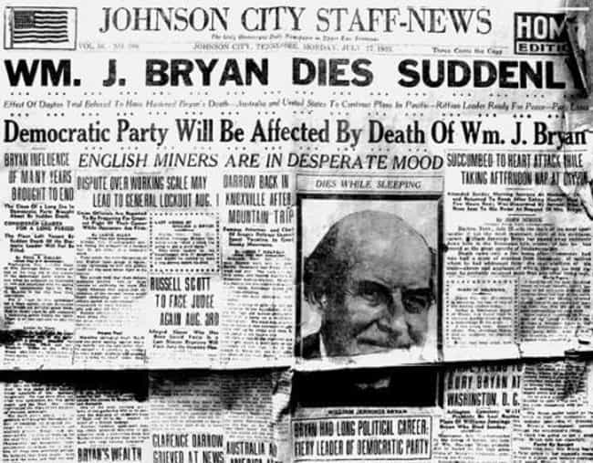 Bryan's Humiliation in Day... is listed (or ranked) 4 on the list 12 Surprising Facts About William Jennings Bryan