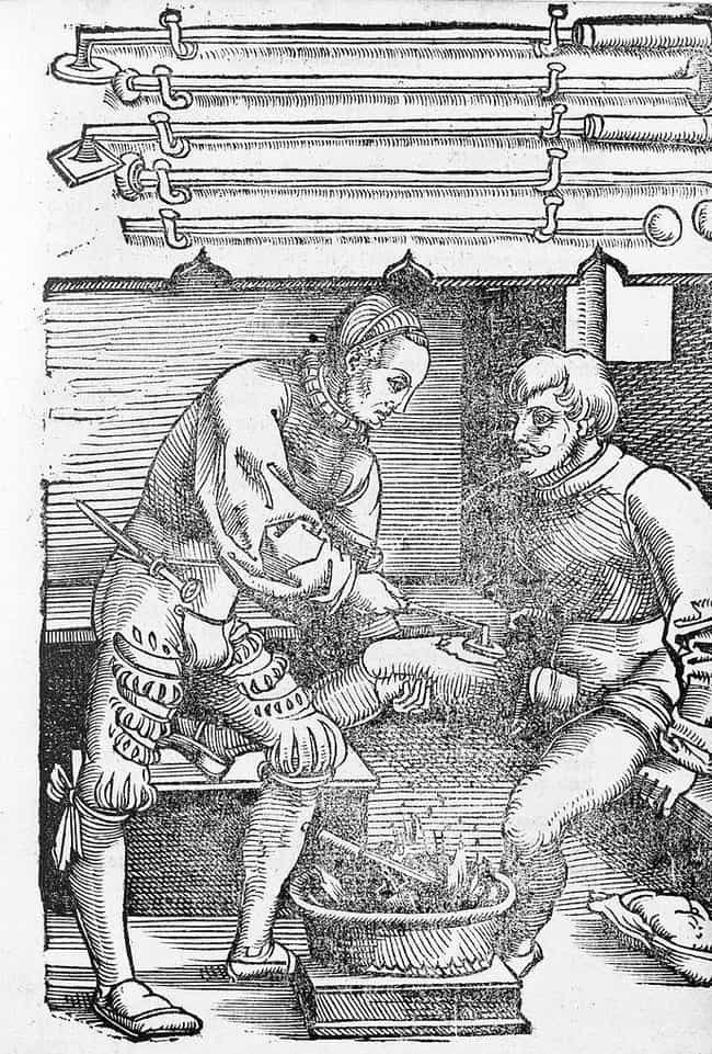 Pouring Boiling Oil Into Gunsh... is listed (or ranked) 1 on the list 10 Bizarre and Bloody Practices of Medieval Barbers
