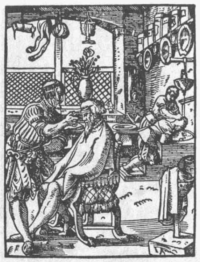Shampooing with Stale Pee is listed (or ranked) 4 on the list 10 Bizarre and Bloody Practices of Medieval Barbers