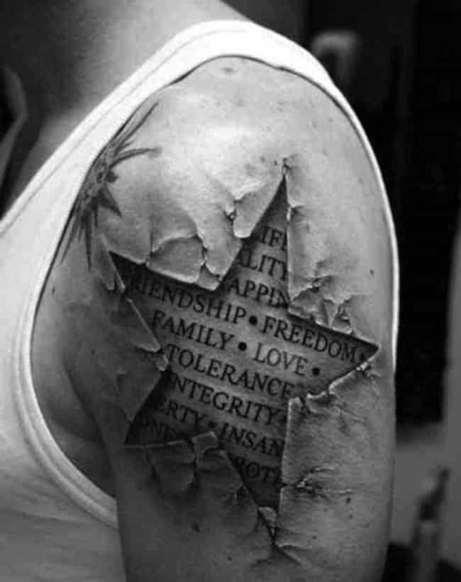 This Guy Wears What's in H... is listed (or ranked) 3 on the list 29 Hyperrealistic Tattoos That Look Like Photos Printed on Skin