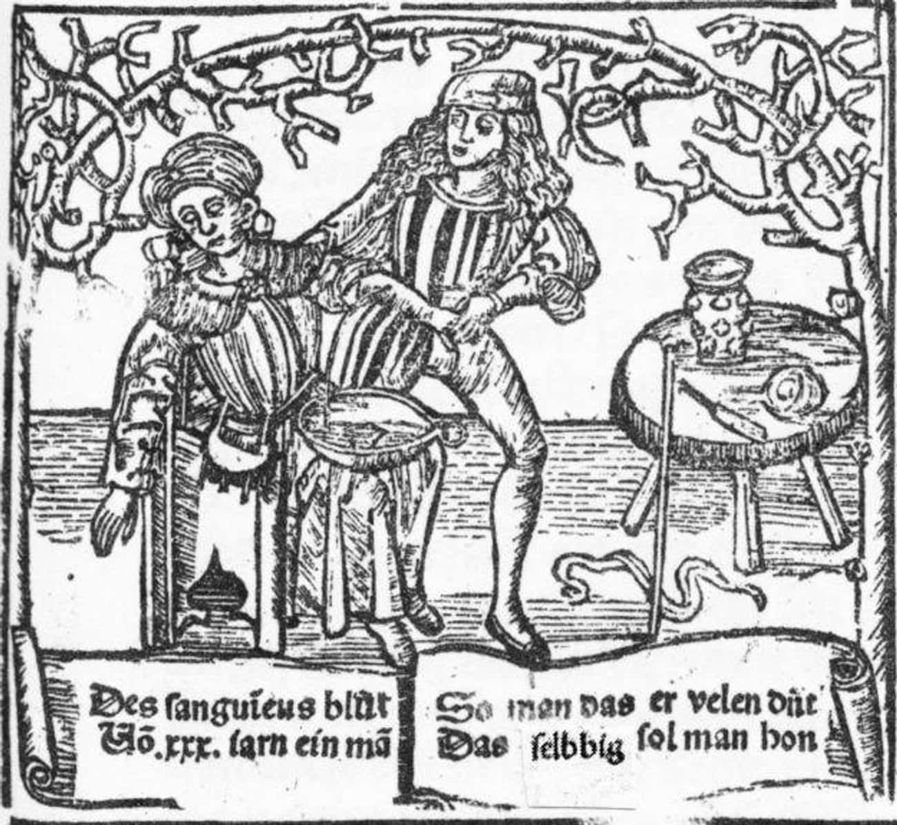 Advertising with a Bowl of Blo is listed (or ranked) 3 on the list 10 Bizarre and Bloody Practices of Medieval Barbers