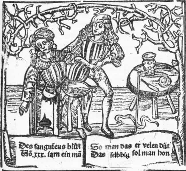 Advertising with a Bowl of Blo... is listed (or ranked) 3 on the list 10 Bizarre and Bloody Practices of Medieval Barbers