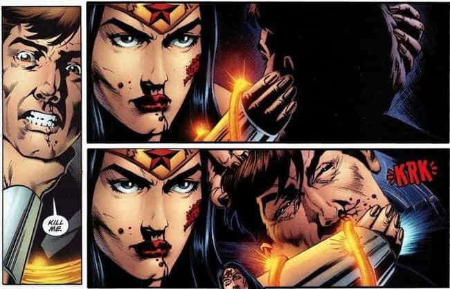 Wonder Woman Snaps Maxwell Lor... is listed (or ranked) 2 on the list 10 Hyper-Violent Female Superhero Moments in Comic Book History