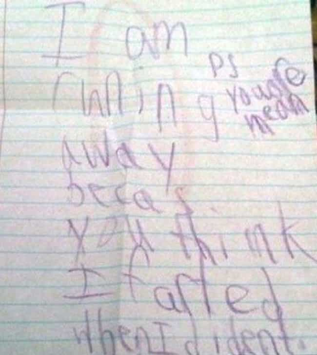 Wrongfully Accused is listed (or ranked) 1 on the list 18 Ridiculously Cute 'Running Away From Home' Notes Written By Kids