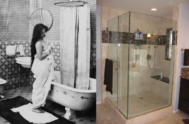 Showers is listed (or ranked) 1 on the list 36 Everyday Things From The Early 1900s vs How They Look Today
