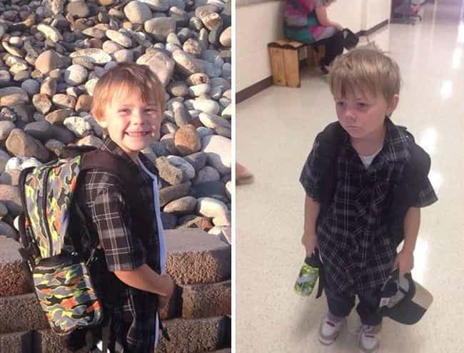 The Look of Defeat is listed (or ranked) 1 on the list 18 Hilarious Pictures of Kids Before and After Their First Day of School