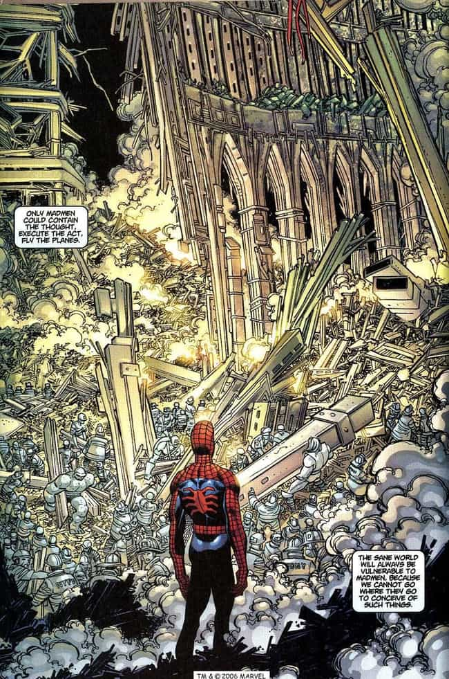 Spider-Man Faces 9/11 He... is listed (or ranked) 2 on the list The Most Emotional Moments In Marvel Comics History