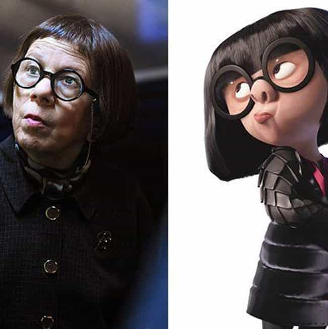 Linda Hunt and Edna Mode is listed (or ranked) 1 on the list 23 Celebrities and Their Cartoon Doppelgangers