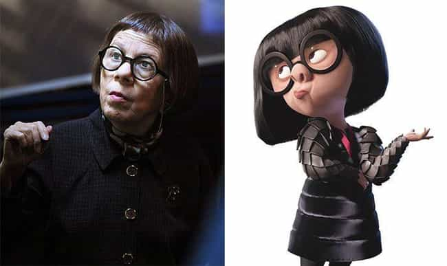 Linda Hunt And Edna Mode... is listed (or ranked) 1 on the list 19 Celebrities and Their Cartoon Doppelgangers