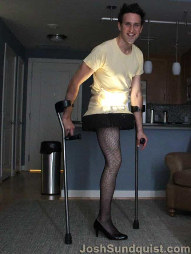 Sticking Your Leg Out Like The... is listed (or ranked) 3 on the list These Amputees Are Turning Their Disability Into Clever And Creative Halloween Costumes