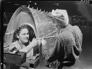 Riveting Team Working on a B-17F Bomber at the Boeing Plant in Seattle, WWII