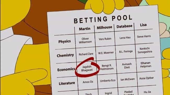 Bengt Holmström Wins the Nobel... is listed (or ranked) 4 on the list 19 Simpsons Jokes That Actually Came True
