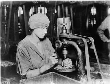 Countersinking the Detonator Tube Hole and Filling in a Hand Grenade, WWI