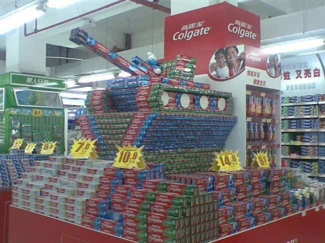 This Toothpaste Tank Bat... is listed (or ranked) 3 on the list These Supermarkets Are Not Messing Around When It Comes to Their Displays