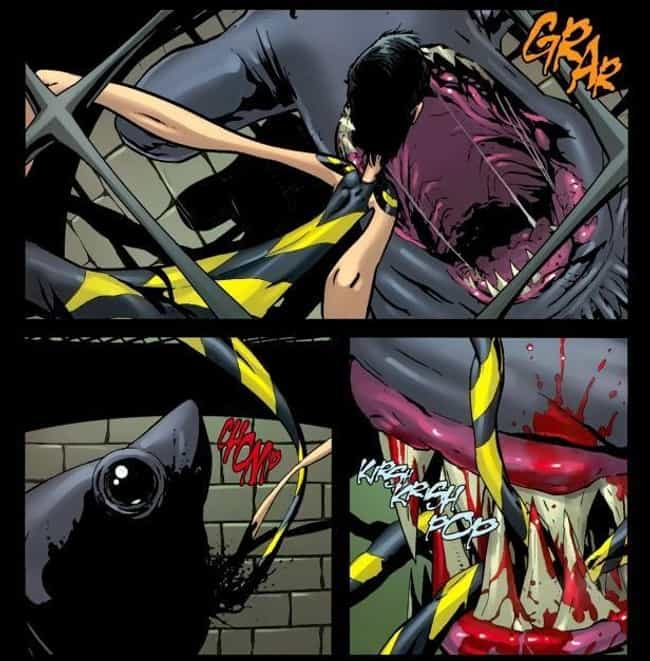 King Shark Devours Yo Yo is listed (or ranked) 1 on the list 12 Crazy Gruesome Moments in Suicide Squad Comics