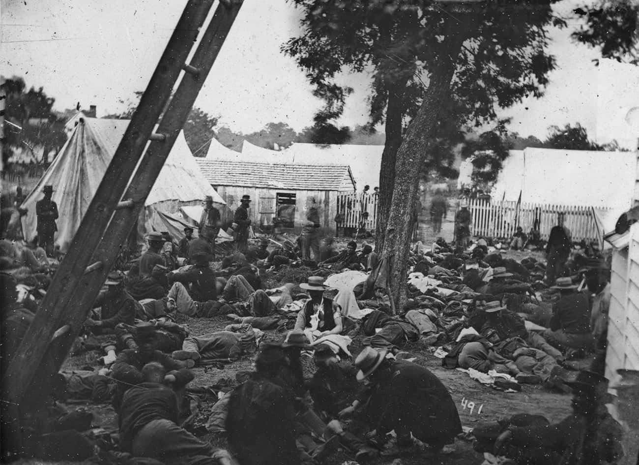 The Wounded Wait for Help Afte is listed (or ranked) 2 on the list 23 Astounding Civil War Battlefield Photos