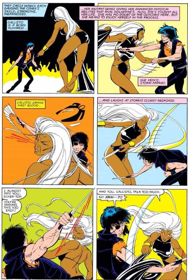 Storm's Fight to the Death is listed (or ranked) 2 on the list 10 Epic Moments When Storm Was the Baddest Member of the X-Men