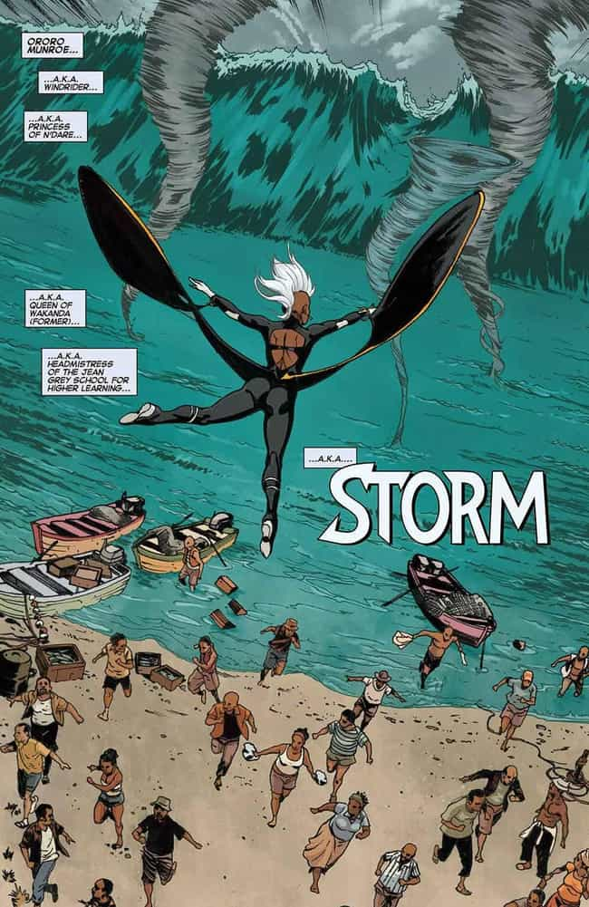 Storm Takes on Tanks and Tsuna... is listed (or ranked) 4 on the list 10 Epic Moments When Storm Was the Baddest Member of the X-Men