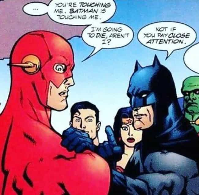 Join the Justice League, They ... is listed (or ranked) 2 on the list The 15 Flat-Out Funniest Moments from The Flash Comics
