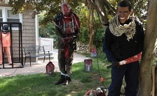 A Machete-Wielding Obama Went ... is listed (or ranked) 2 on the list 12 Halloween Decorations Too Controversial for the Neighbors