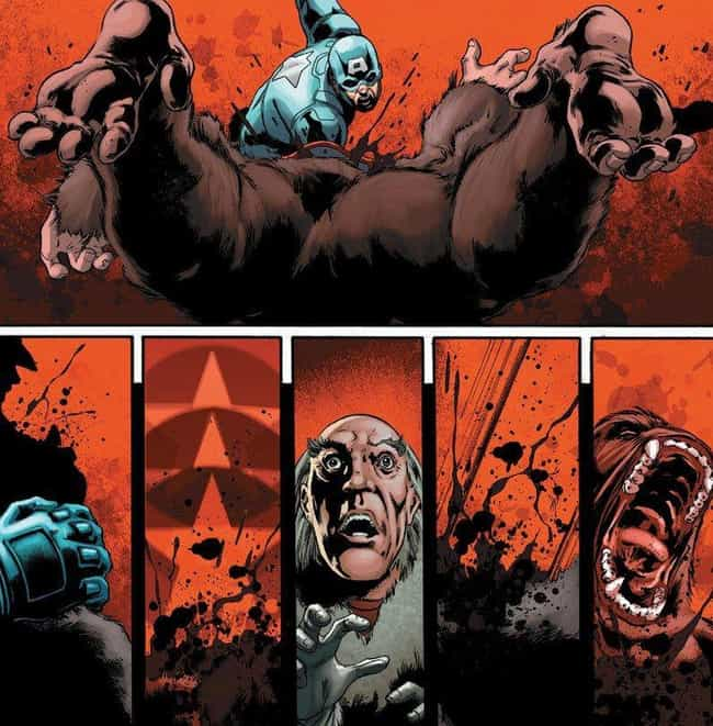 Super-Apes Don't Stand a C... is listed (or ranked) 4 on the list The 15 Most Brutal Moments in Captain America Comics