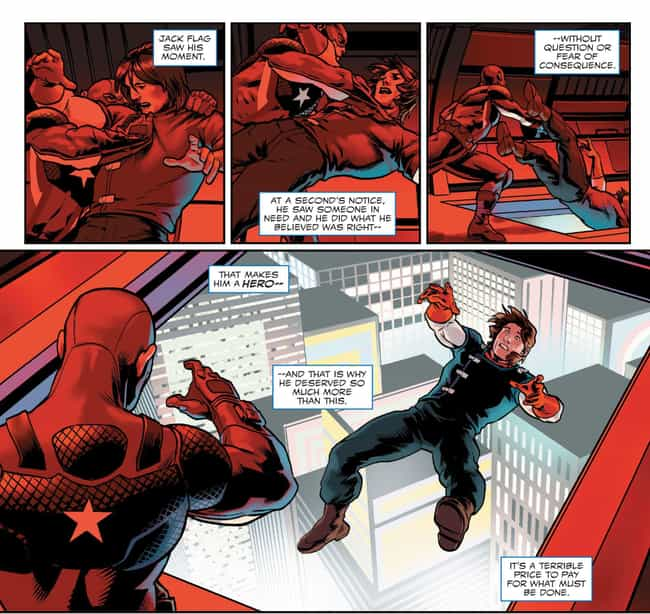 Tosses Jack Flagg from a Plane is listed (or ranked) 3 on the list The 15 Most Brutal Moments in Captain America Comics