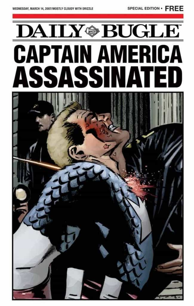 Getting Shot on Courthouse Ste... is listed (or ranked) 2 on the list The 15 Most Brutal Moments in Captain America Comics
